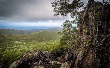 Foto van bergen genomen vanaf de Christoffelberg op Curaçao.